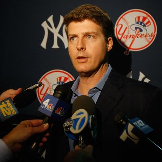 Hal Steinbrenner, Managing General Partner / Co-Chairperson speaks to the media after Jorge Posada announces his retirement from the New York Yankees duirng a press conference at Yankee Stadium on January 24, 2012 in the Bronx borough of New York City.