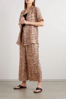 Faithfull The Brand + NET SUSTAIN Charlita tiger-print linen shirt