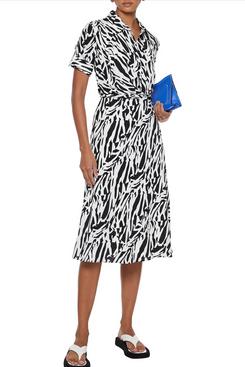 Diane Von Furstenberg Deborah Wrap-Effect Zebra-Print Silk Crepe De Chine Dress