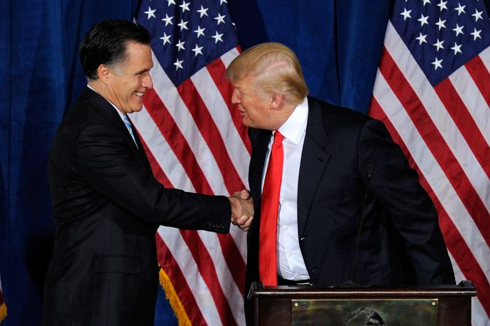 LAS VEGAS, NV - FEBRUARY 02:  Republican presidential candidate, former Massachusetts Gov. Mitt Romney (L) and Donald Trump shake hands during a news conference held by Trump to endorse Romney for president at the Trump International Hotel & Tower Las Vegas February 2, 2012 in Las Vegas, Nevada. Romney came in first in the Florida primary on January 31 and is looking ahead to Nevada's caucus on February 4.  (Photo by Ethan Miller/Getty Images)