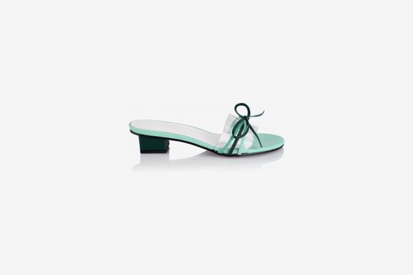 Yuul Yie Bow-Embellished PVC-Trimmed Leather Sandals, Blue