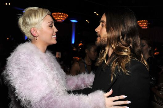 Miley Cyrus and Jared Leto during the 56th annual GRAMMY Awards  Pre-GRAMMY Gala and Salute to Industry Icons honoring  Lucian Grainge at The Beverly Hilton on January 25, 2014 in Los Angeles, California.