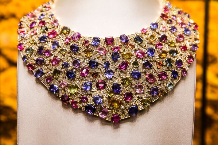 Bib necklace in gold with multicolored sapphires and diamonds, 2005.