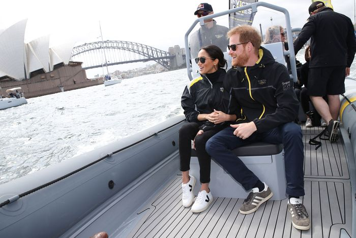 Meghan Markle and Prince Harry on a boat.