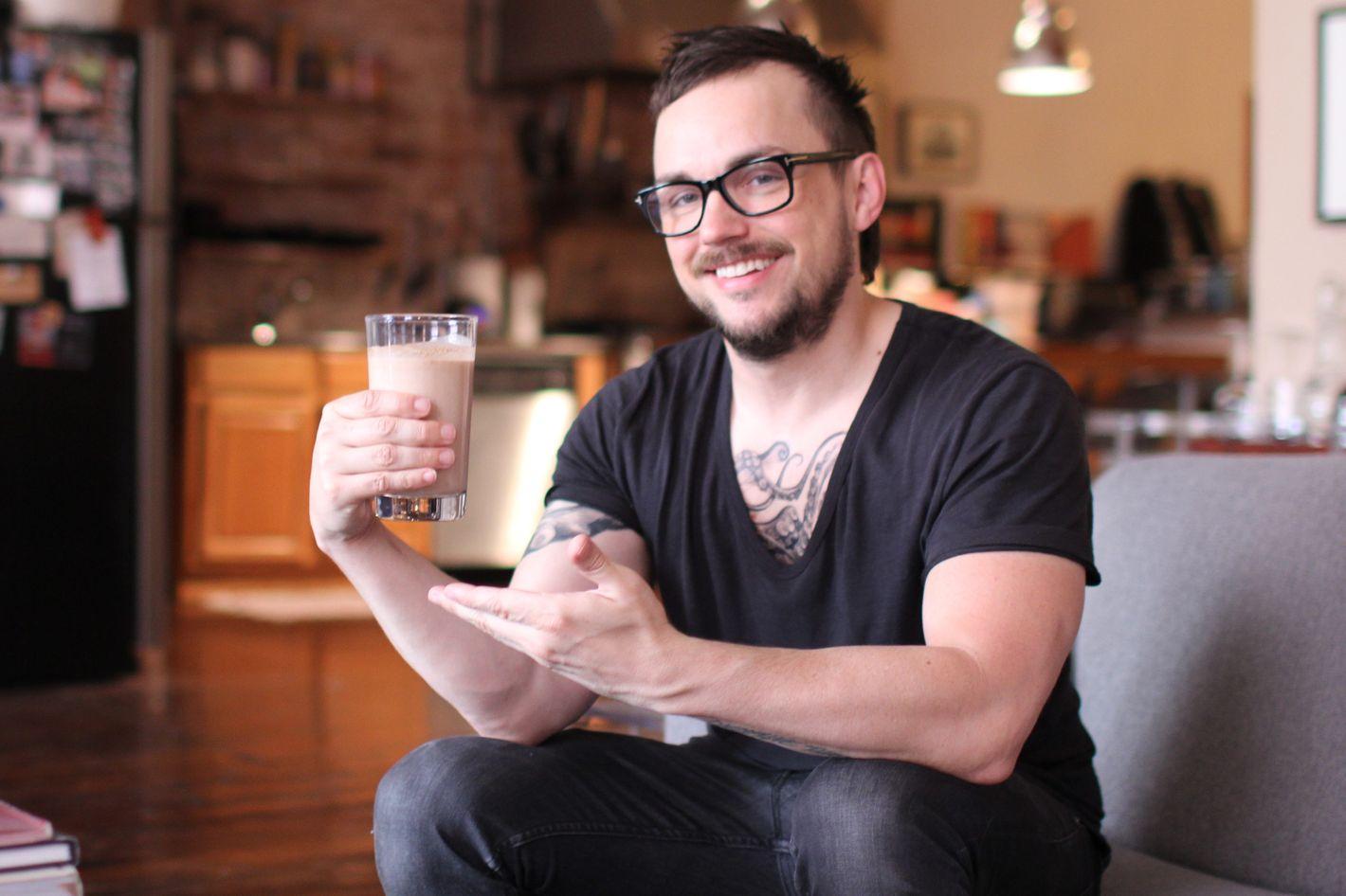 Higgins with some homemade smoked-peanut milk.
