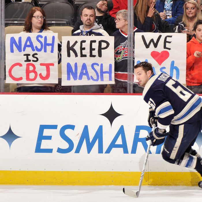 Columbus Blue Jackets fans in Pittsburgh show their support for Rick Nash #61 of the Columbus Blue Jackets as Nash warms up before a game against the Pittsburgh Penguins on February 26, 2012 at CONSOL Energy Center in Pittsburgh, Pennsylvania.