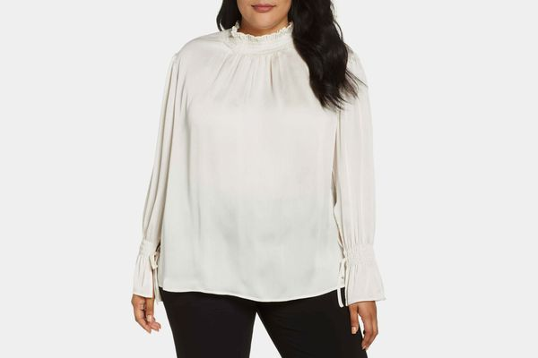 Vince Camuto Flare Tie Cuff Satin Blouse