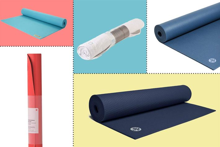 collage of manduka prolite, lululemon reversible (un) mat, manduka pro, jade harmony, and breathe original yoga mat - strategist best fitness gear and best yoga mats