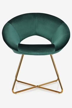 COSTWAY Velvet Round Accent Chair with Non-slip Pads