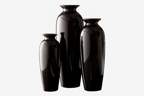 Hosley Set of 3 Ceramic Vases, Black
