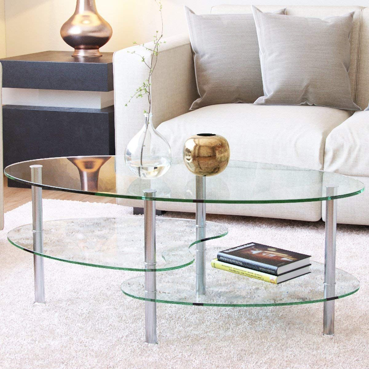 Ryan Rove Ashley Oval Two-Tier Glass Coffee Table