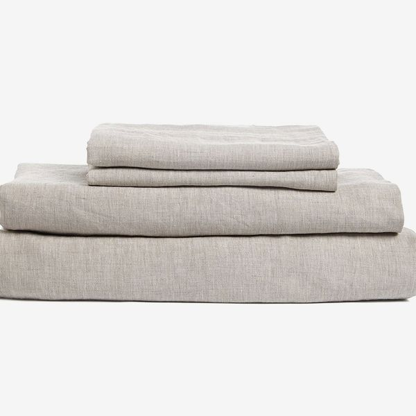 DAPU Pure Stone Washed Linen Sheets Set 100% French Natural Linen European Flax