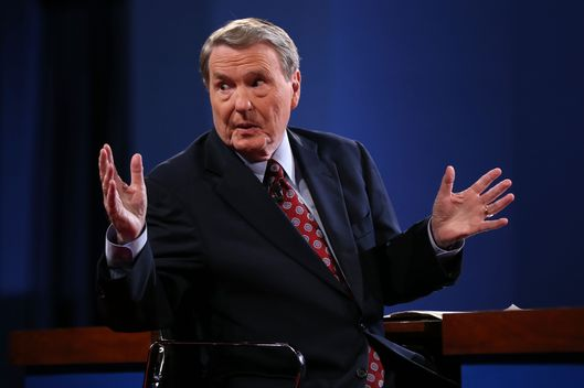 Debate moderator Jim Lehrer speaks prior to the Presidential Debate at the University of Denver on October 3, 2012 in Denver, Colorado. The first of four debates for the 2012 Election, three Presidential and one Vice Presidential, is moderated by PBS's Jim Lehrer and focuses on domestic issues:  the economy, health care, and the role of government.
