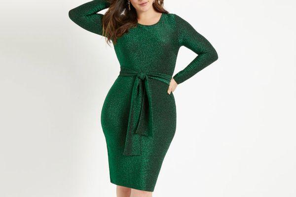 Lurex Tie-Waist Dress