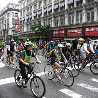 Some of the thousands of bicyclists participating in the Five Boro Bike Tour May 6, 2012 in New York. The race consists of three waves of 30,000 cyclists from all over the country who ride a course that takes them through all five boroughs of New York City.