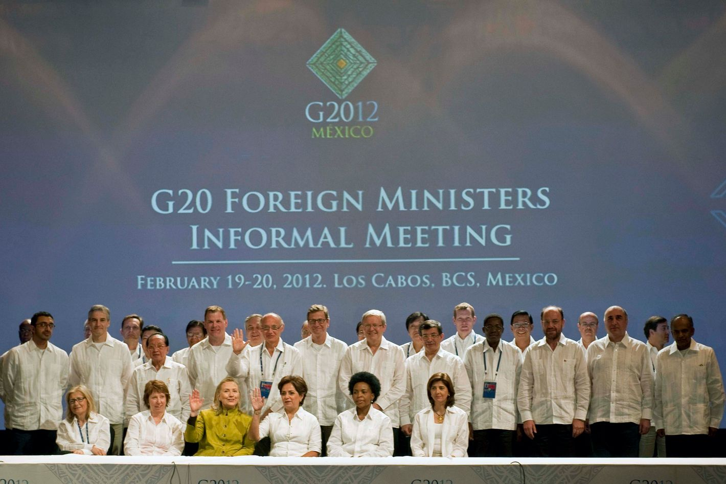 US Secretary of State Hillary Rodham Clinton(C front), Catherine Ashton, EU High Representative for Foreign and Security Policy (L front), Mexico's Foreign Minister Patricia Espinosa (2ndR), and South Africia's Foreign Minister Maite Nkoana-Mashabane pose with other representatives during the G20 foreign ministers family photo in Los Cabos, Mexico, on February 20, 2012.