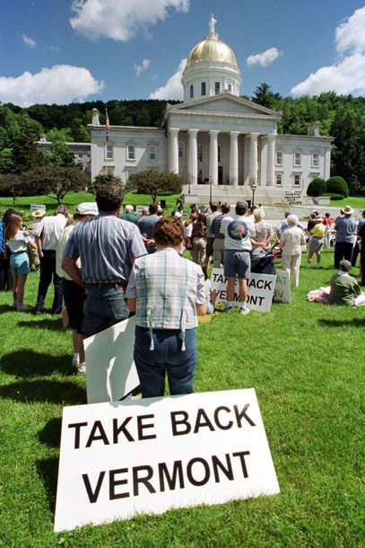 About 100 people gather on the lawn of the Vermont Statehouse in Montpelier on July 1, 2000, in protest of civil unions. July 1 is the first day the state of Vermont is legally recognizing a same-sex union, giving lesbian and gay couples essentially the same rights as a marriage.