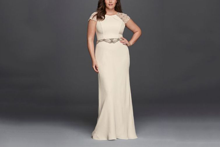 WONDER BY JENNY PACKHAM Plus Size Crepe Sheath Wedding Dress