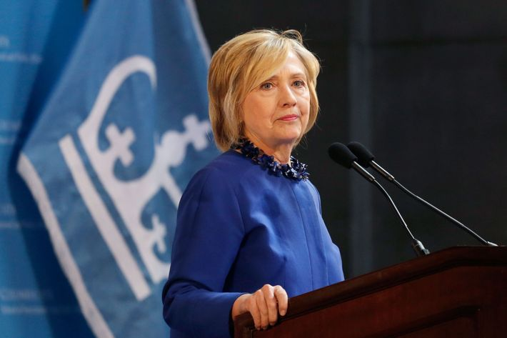 Hillary Rodham Clinton, a 2016 Democratic presidential contender, asks the audience to join her in praying for the people of Baltimore during a speech at the David N. Dinkins Leadership and Public Policy Forum, Wednesday, April 29, 2015 in New York. (AP Photo/Mark Lennihan)