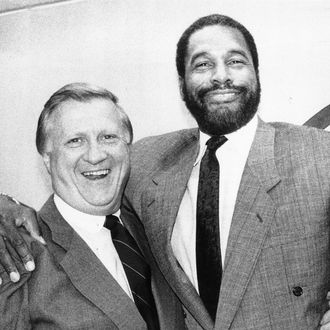 UNITED STATES - CIRCA 2001: George Steinbrenner and Dave Winfield at Yankee Stadium where they announced settlement of the Winfield Foundation dispute. (Photo by Keith Torrie/NY Daily News Archive via Getty Images)