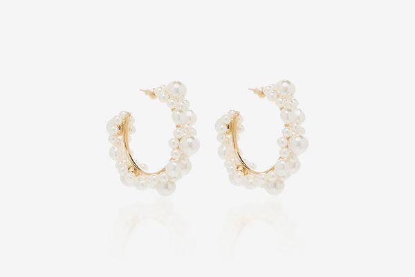 Simone Rocha Faux Pearl Hoop Earrings
