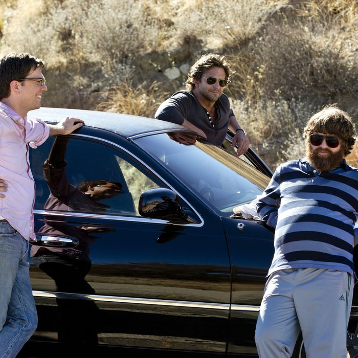 "(L-r) ED HELMS as Stu, BRADLEY COOPER as Phil and ZACH GALIFIANAKIS as Alan in Warner Bros. Pictures' and Legendary Pictures' comedy ""THE HANGOVER PART III."""