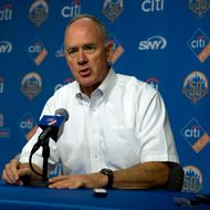 NEW YORK, NY - AUGUST 22: General manager Sandy Alderson of the New York Mets speaks during a press conference to announce they will place pitcher Johan Santana on the disabled list for the rest of the season before the Colordado Rockies vs Mets game at Citi field August 22, 2012 in the Flushing neighborhood of the Queens borough of New York City. (Photo by Jason Szenes/Getty Images)