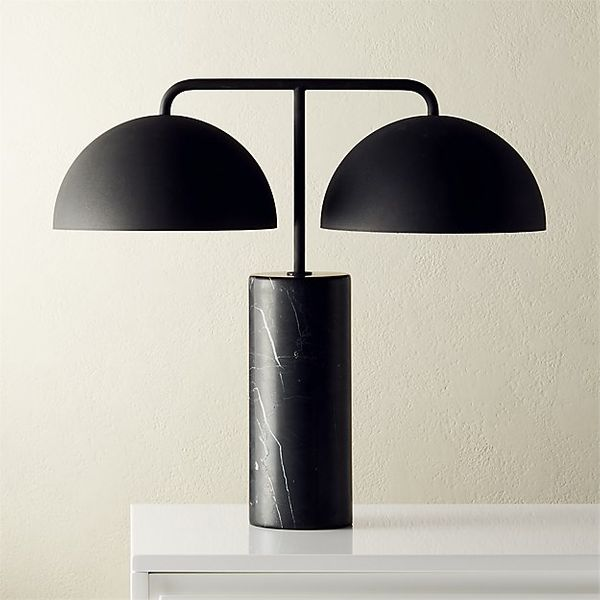 CB2 Domes Black Marble Table Lamp