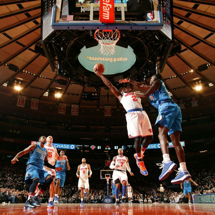 Raymond Felton #2 of the New York Knicks drives to the basket against Darren Collison #4 of the Dallas Mavericks during the game on November 9, 2012 at Madison Square Garden in New York City.