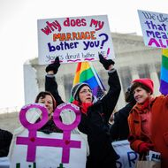 Activists from both sides gather in front of the the Supreme Court in Washington, D.C. as the Court hears arguments for the first time Tuesday on whether gays and lesbians have a constitutional right to marry in a California case that could affect the law nationwide.