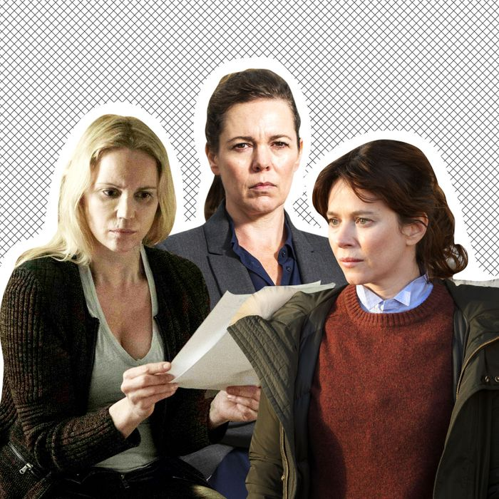 Saga Norén (Sofia Helin) from The Bridge, Ellie Miller (Olivia Coleman) from Broadchurch, Marcella Backland (Anna Friel) from Marcella.