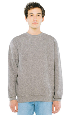 American Apparel Men's Peppered Fleece Long Sleeve Pullover Crewneck