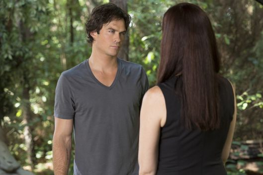 "The Vampire Diaries -- ""Never Let Me Go"" -- Image Number: VD702a_0165.jpg -- Pictured (L-R): Ian Somerhalder as Damon and Annie Wersching as Lily -- Photo: Bob Mahoney/The CW -- © 2015 The CW Network, LLC. All rights reserved."