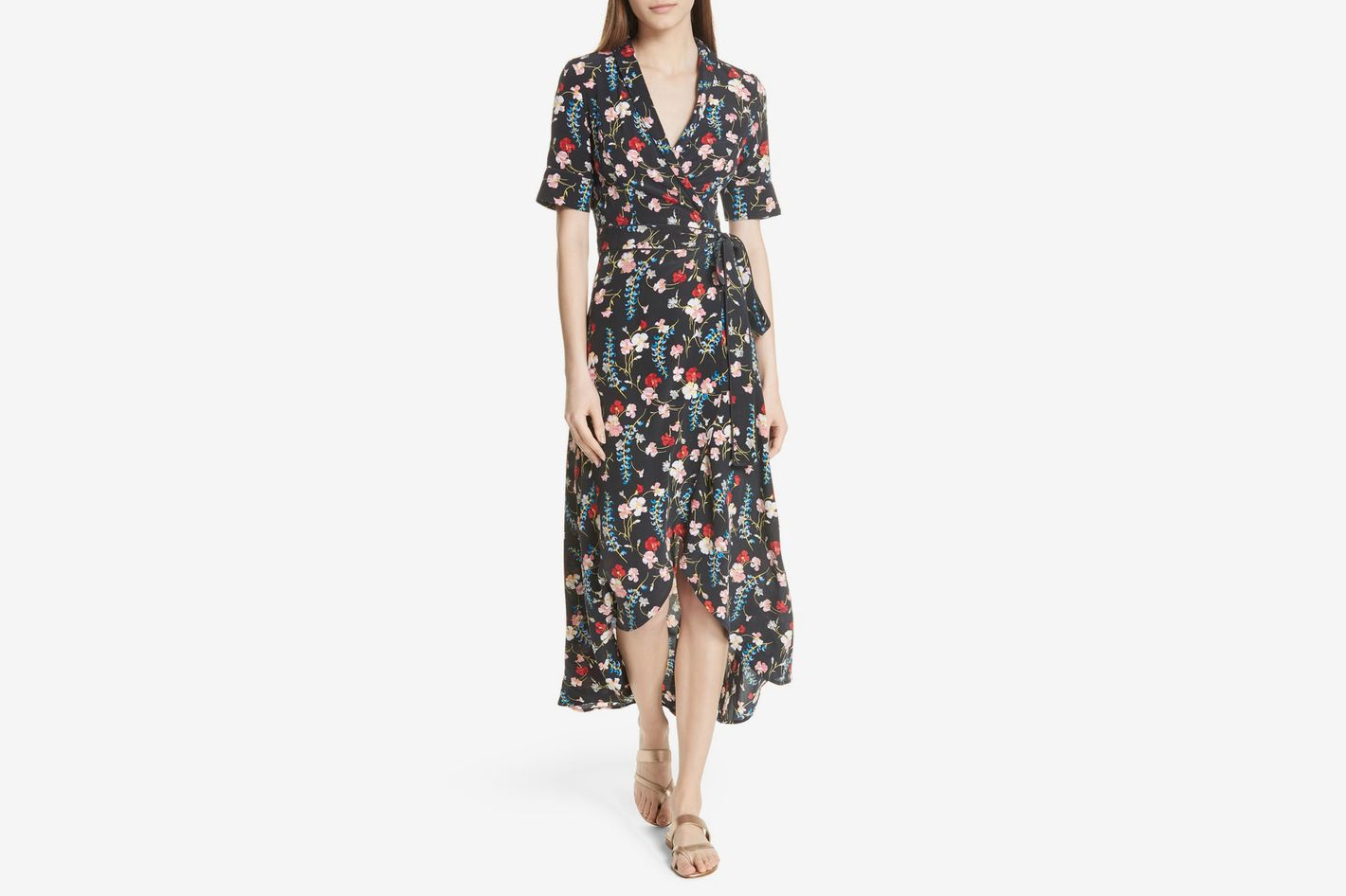 Equipment Imogene Floral Silk Wrap Dress