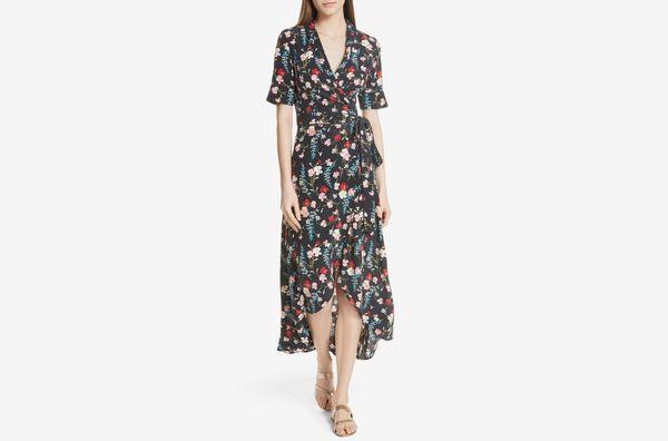 Equipment Imogene Floral Silk Wrap Dress