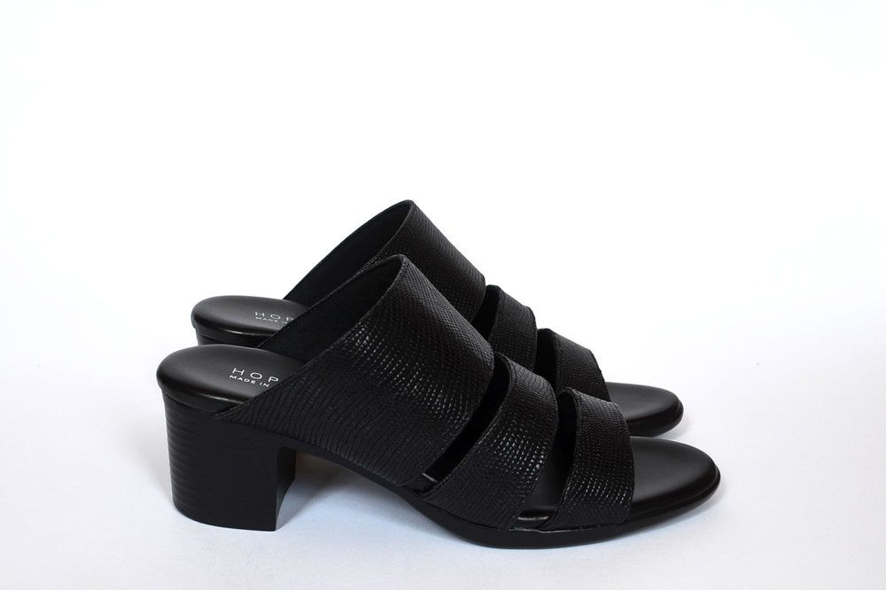 Three Strap Sandal - Black Lizard Emboss