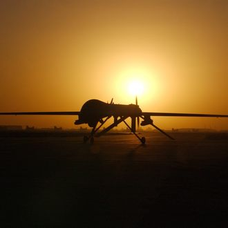The RQ-1 Preditor taxi's in after one of its sorties September 15, 2004 in Balad Air Base, Iraq. The RQ-1is a medium-altitude, long-endurance unmanned aerial vehicle.