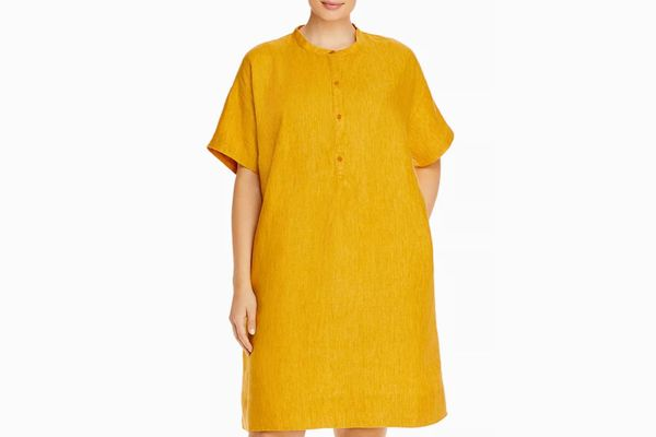 Eileen Fisher Plus Organic Linen Mandarin Collar Dress