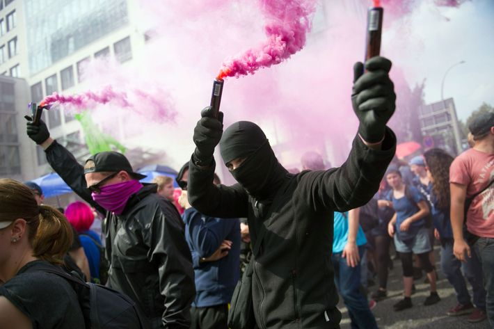 Image result for images of clash between police and protest in Hamburg on July 7, 2017