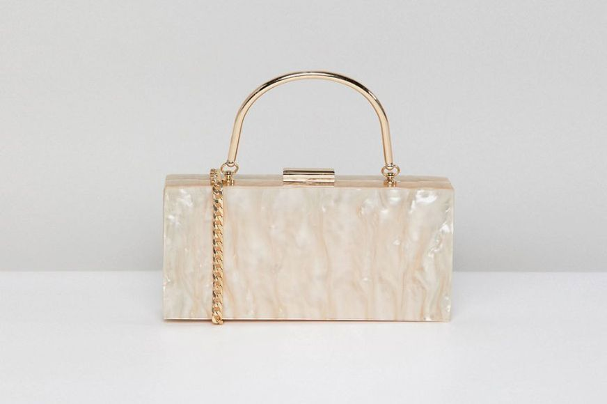 ASOS DESIGN Marble Clutch Bag With Metal Handle