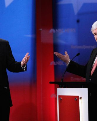 Republican presidential candidates, former Massachusetts Gov. Mitt Romney and former Speaker of the House Newt Gingrich participate in the NBC News, National Journal, Tampa Bay Times GOP debate held at the University of South Florida on January 23, 2012 in Tampa, Florida.