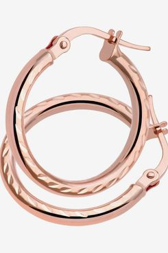 Citerna Side Diamond Cut 9 ct Rose Gold Round Hoop Earrings