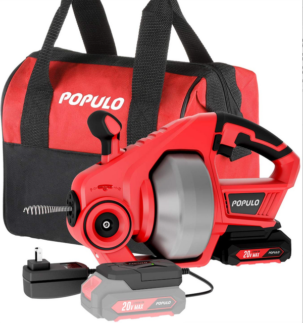 Populo 20V Max Lithium-Ion Electric Drain Snake Auger Kit