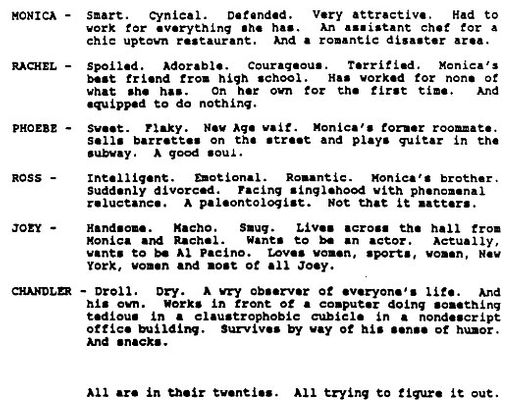 Read the Friends Pilot Script -- Vulture