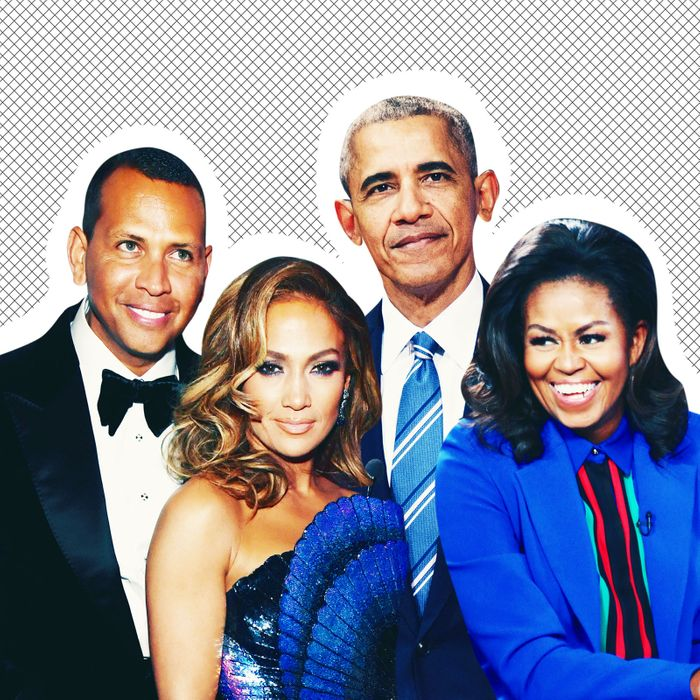 Alex Rodriguez, Jennifer Lopez, Barack Obama, and Michelle Obama.