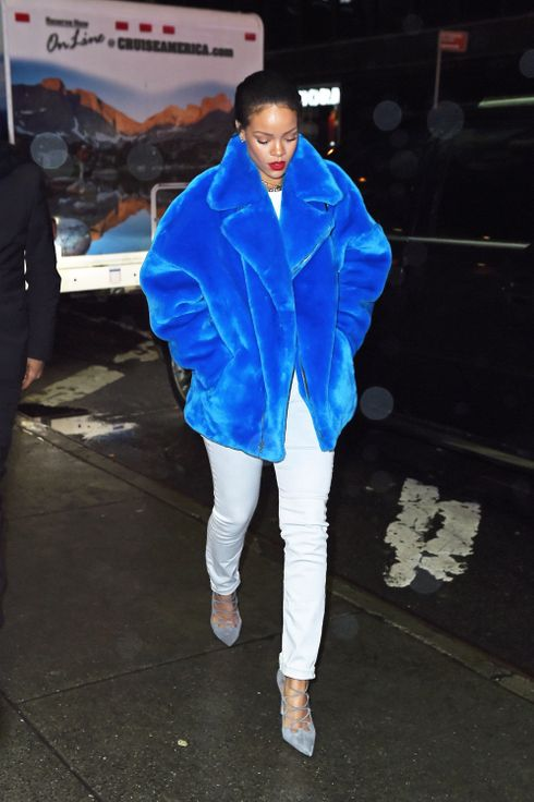 Rihanna Stayed Warm In A Cookie Monster Coat The Cut