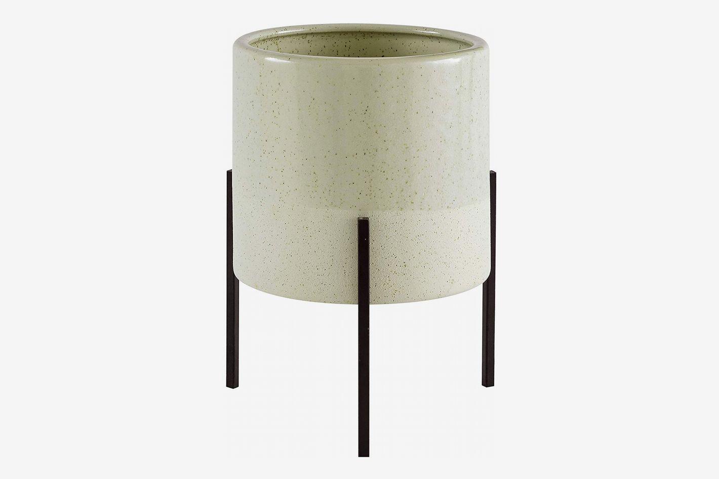 Rivet Mid-Century Ceramic Planter with Iron Stand