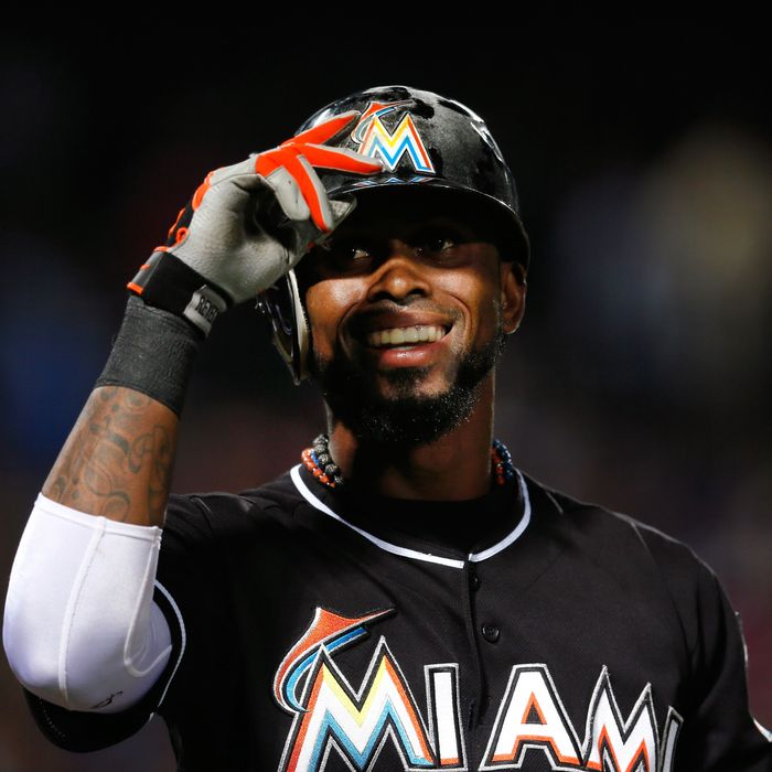 Jose Reyes #7 of the Miami Marlins smiles after reaching out for a pitch in the first inning against the Atlanta Braves at Turner Field on September 27, 2012 in Atlanta, Georgia.