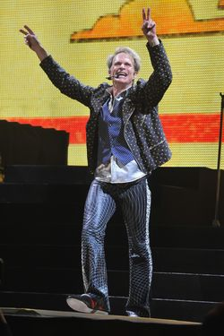 "LOUISVILLE, KY - FEBRUARY 18:  David Lee Roth of Van Halen performs during their ""A Different Kind of Truth"" tour at KFC YUM! Center on February 18, 2012 in Louisville, Kentucky.  (Photo by Theo Wargo/Getty Images)"