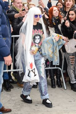 NEW YORK, NY - MARCH 27:  Singer and actress Lady Gaga enter Roseland Theater on March 27, 2014 in New York City.  (Photo by Ray Tamarra/GC Images)